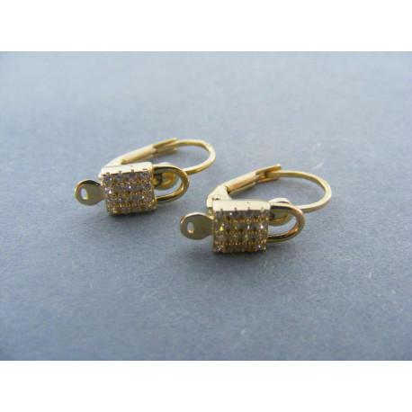 Detské  zlaté naušnice žlté zlato zirkóny DA197Z 14 karátov 585/1000 1,97 Gg