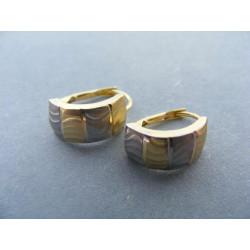 Dámske zlaté naušnice viacfarebné zlato vzorované DA146V 14 karátov 585/1000 1,46 g
