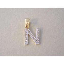 Zlatý prívesok písmeno N viacfarebné zlato zirkóny VI074V 14 karátov 585/1000 0,74 g