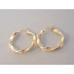 Dámske zlaté naušnice kruhy točený vzor VA303Z žlté zlato 14 karátov 585/1000 3,03 g