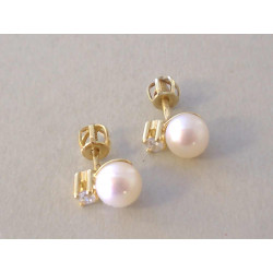 Dámske zlaté naušnice šrubovačky biele perly, zirkón DA187Z žlté zlato 14 karátov 585/1000 1,87 g