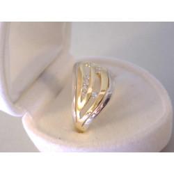 Dámsky zlatý prsteň žlté biele zlato zirkóny VP57228V viacfarebné zlato 14 karátov 585/1000 2,28 g