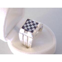 Strieborný pánsky prsteň vzor šachovnica ONYX VPS62813 925/1000 8,13 g