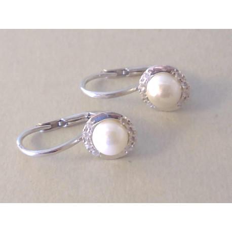 Dámske strieborné naušnice perla ,zirkóny VAS225 925/1000 2,25 g