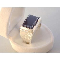 Pánsky strieborný prsteň ONYX zarezávaná obruč VPS1049 925/1000 10,49 g S