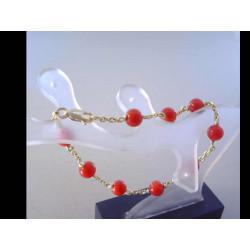 Zlatý náramok žlté zlato červené perličky DN185667Z 14 karátov 585/1000 6,67 g