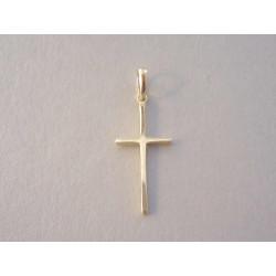 Jednoduchý zlatý prívesok tvar Kríž hladký povrch VI076Z žlté zlato 14 karátov 585/1000 0,76g