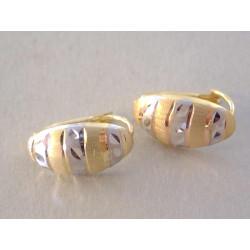 Dámske zlaté naušnice vzorované viacfarebné zlato VA183V 14 karátov 585/1000 1,83 g