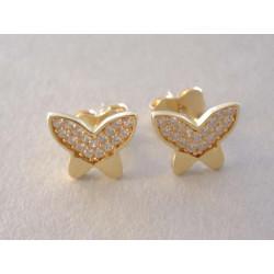 Zlaté dámske naušnice Motýliky žlté zlato zirkóny VA132Z 14 karátov 585/1000 1,32 g