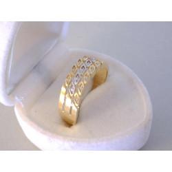Zaujímavý dámsky zlatý prsteň zirkóny VP60252V viacfarebné zlato 14 karátov 585/1000 2,52 g