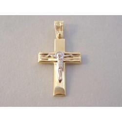 Zlatý prívesok Ježiš na kríži UNISEX viacfarebné zlato VI153V 14 karátov 585/1000 1,53 g