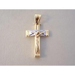 Zlatý prívesok Ježiš na kríži viacfarebné zlato VI215V 14 karátov 585/1000 2,15 g