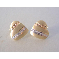 Dámske zlaté naušnice Srdiečka vzorované VA210V viacfarebné zlato 14 karátov 585/1000 2,10 g
