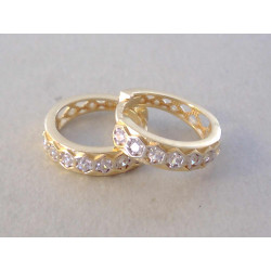 Dámske zlaté naušnice kruhy žlté zlato, zirkóny VA290Z 14 karátov 585/1000 2,90g