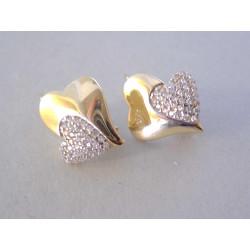 Zlaté naušnice dámske Srdiečko v srdiečku zirkóny VA280Z žlté zlato 14 karátov 585/1000 2,80 g