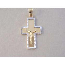 Zlatý prívesok Ježiš na kríži viacfarebné zlato VI244V 14 karátov 585/1000 2,44 g
