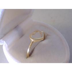 Dámsky zlatý Prsteň so Srdiečkom zirkóny VP55107Z žlté zlato 14 karátov 585/1000 1,07 g