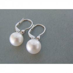 Zlaté dámske naušnice perla,briliant biele zlato VA326B 14 karátov 585/1000 3,26 g