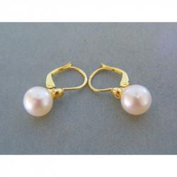 Zlaté dámske naušnice žlté zlato perla,diamant VAS337Z žlté zlato 14 karátov 585/1000 3,37 g