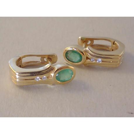 Zlaté dámske naušnice zelený SMARAGD, BRILIANTY VA495Z žlté zlato 14 karátov 585/1000 4,95 g