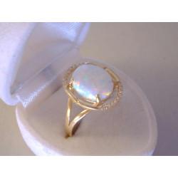 Dámsky zlatý prsteň žlté zlato  kameň opál, zirkóny VP63266Z 14 karátov 585/1000 2,66 g