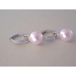 Strieborné naušnice kruhy s perličkou ,kamienky Swarovski DAS613 925/1000 6,13
