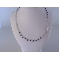 Strieborný náhrdelník krížik,medajlón,zirkónové guličky VRS46612 925/1000 6,12 g