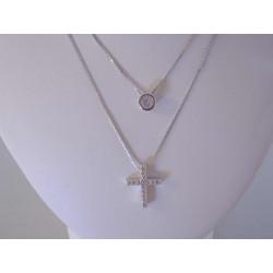 Pekná dámska dvojitá retiazka Selebritka Kríž, zirkón VRS38324 925/1000 3,24 g
