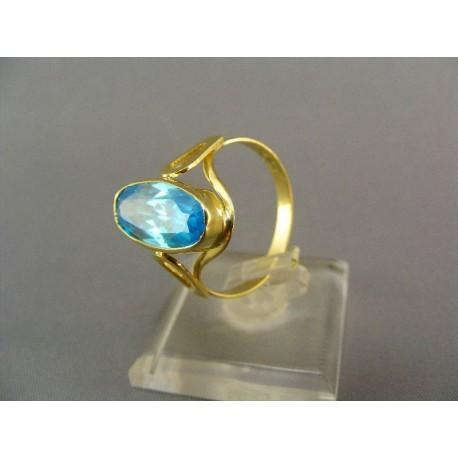 Zlatý prsten s aquamarínom