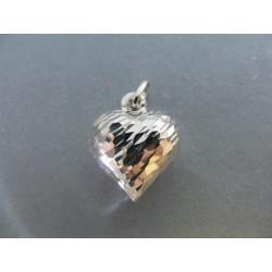 Strieborný dámsky prívesok duté Srdiečko zarezávaný vzor DIS218 925/1000 2,15 g
