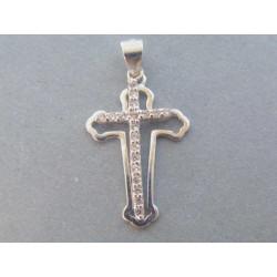 Strieborný prívesok dámsky dvojitý kríž, zirkóny VIS153 925/1000 1,53 g