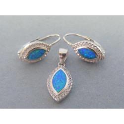 Dámska strieborná súprava prívesok naušnice modrý opál a zirkón VSS434 925/1000 4,34 g