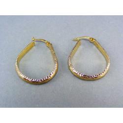Zlaté náušnice viacfarebné zlato oválny tvar VA330V
