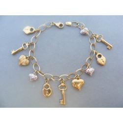 Zaujímavý dámsky náramok klúče od Srdca DN18785V viacfarebné zlato 14 karátov 585/1000 7,85 g