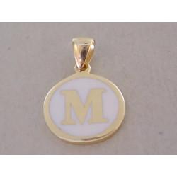 Zlatý prívesok písmenko M UNISEX DI107Z žlté zlato 14 karátov 585/1000 1,07 g