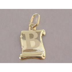 Zlatý prívesok písmeno B na Pergamone DI040Z žlté zlato 14 karátov 585/1000 0,40 g