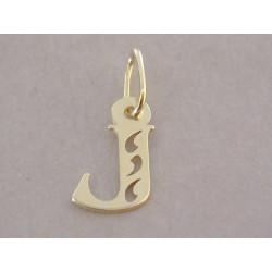 Zlatý prívesok písmeno J vyrezávané tvary DI016Z žlté zlato 14 karátov 585/1000 0,16 g