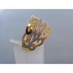 Žiarivý dámsky prsteň žlté zlato kamienky zirkónu VP58302Z 14 karátov 585/1000 3,02 g