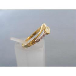Zlatý dámsky prsteň zaujímavý vzhľad žlté zlato zirkóny VP56168Z 14 karátov 585/1000 1,68 g