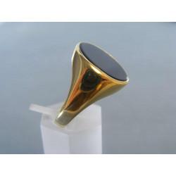 Pánsky výrazný zlatý prsteň žlté zlato ONYX VP63539Z 14 karátov 585/1000 5,39 g