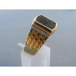 Pánsky zaujímavý prsteň žlté zlato kamienky onyxu a zirkónu VP65698 585/1000  14 karátov 6,98 g