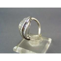 Zlatý prsteň dámsky z bieleho zlata male kamienky VP53386B