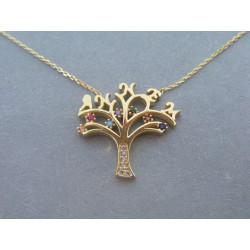 Zlatá dámska retiazka Selebritka Strom života farebné kamienky zirkónu VR43291Z žlté zlato 14 karátov 585/1000 2,91 g