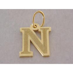 Zlatý prívesok písmeno N žlté zlato DI040Z 14 karátov 585/1000 0,40 g