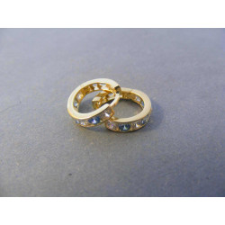 Zlaté naušnice detské malé kruhy žlté zlato farebný  zirkón DA120Z 14 karátov 585/1000 1,20 g