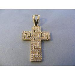Zlatý dámsky prívesok Kríž zaujímavý vzhľad zirkóny DI270Z žlté zlato 14 karátov 585/1000 2,70 g