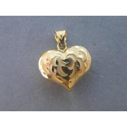 Dámsky zlatý prívesok duté Srdiečko vzorované DA113Z žlté zlato 14 karátov 585/1000 1,13 g