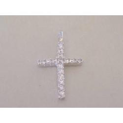 Strieborný dámsky prívesok krížik zirkóny DIS064 925/1000 0,64 g
