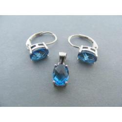 Strieborná súprava dámska prívesok,naušnice modrý kameň zirkónu DSS280 925/1000 2,80 g