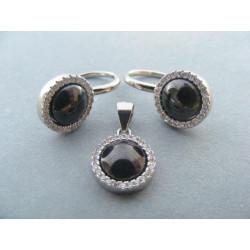 Strieborná dámska súprava prívesok,naušnice čierny kameň ONYX, zirkóny DSS743 925/1000 7,43g